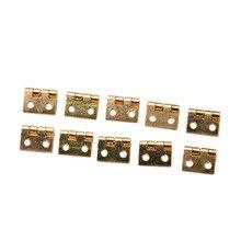 Шт. 10 шт. двери шкафа петли с мебельные гвозди аксессуары латунь покрытием мини-петля небольшой Декоративные ювелирные изделия деревянный ящик 8 мм * 10 мм