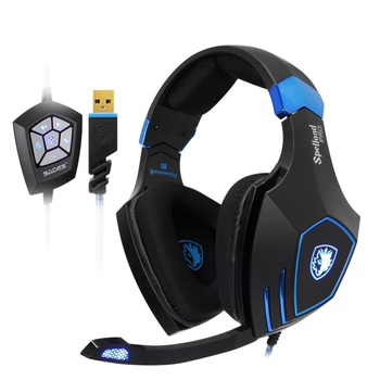 Spellond Pro Bongiovi Acoustics Gaming Headset Deep Bass Vibration Headphone Omnidirectional Microphone