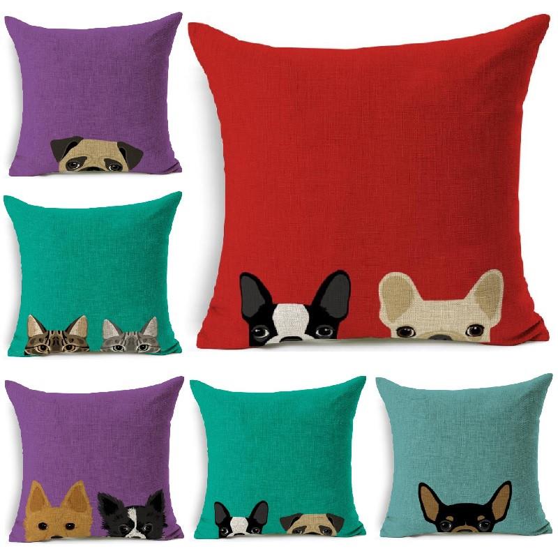 Pillow Cover Dog Hide Patternd Cushion Cover Cotton Linen Throw  Pillows Car Sofa Cover Decorative Pillowcase decorativos Cat