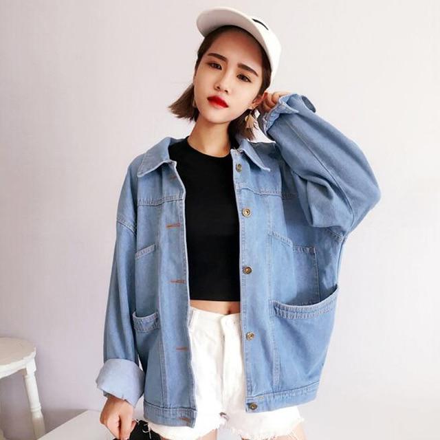 b79e01b3897 Oversized Denim Jacket Women 2019 Autumn Boyfriend Style Long Sleeve Turn  Down Collar Single Breasted Pockets Blue Jeans Jackets