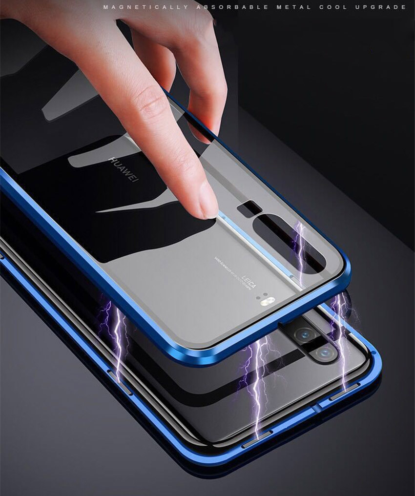 R-just Magnetic Metal Bumper Case for Huawei P30 Lite Tempered Glass Front Back Cover (1)