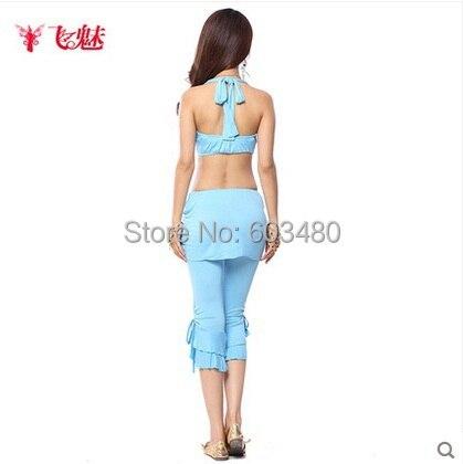 9fe4413ee8c25f Belly Dance costumes Silky Cotton Set Halter Neck Bandage tops+Folds Capri  pants(Culottes) 2pcs /suit women's wear dance