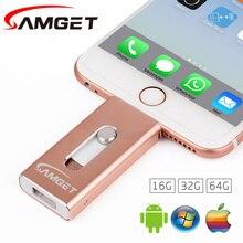 Samget Pen drive 8GB 32GB 64GB Mini USB Metal PenDrive OTG USB Flash Drive for iPhone 5/5S/5C/6/6S Plus/7/ipad/MAC/PC/Android