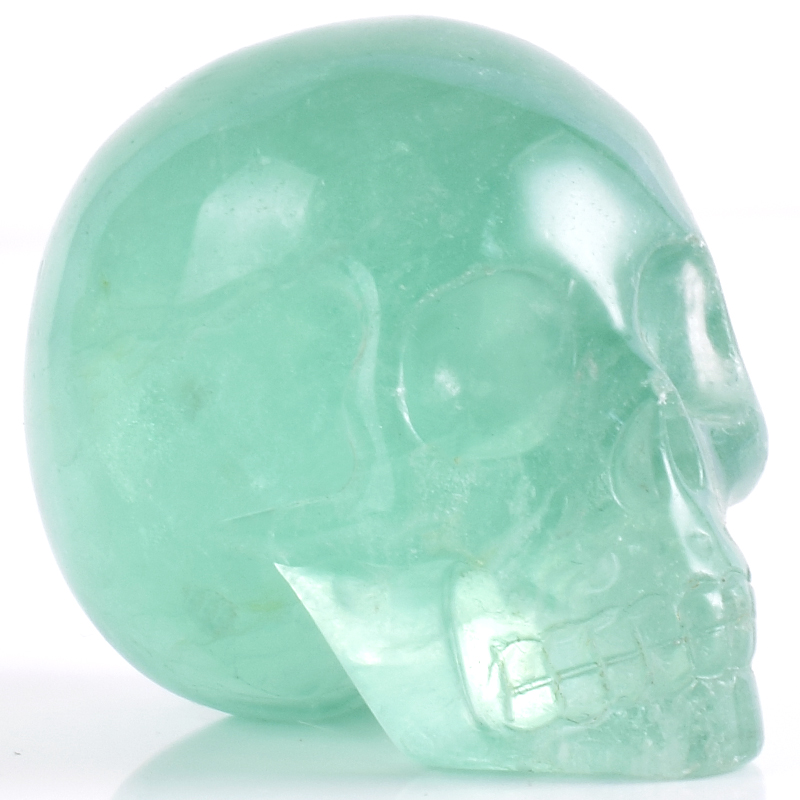 2 Inch Natural Fluorite Skull Figurine Crystal Carved Statue Realistic Feng Shui Healing Ability Home Ornament Art Collectible