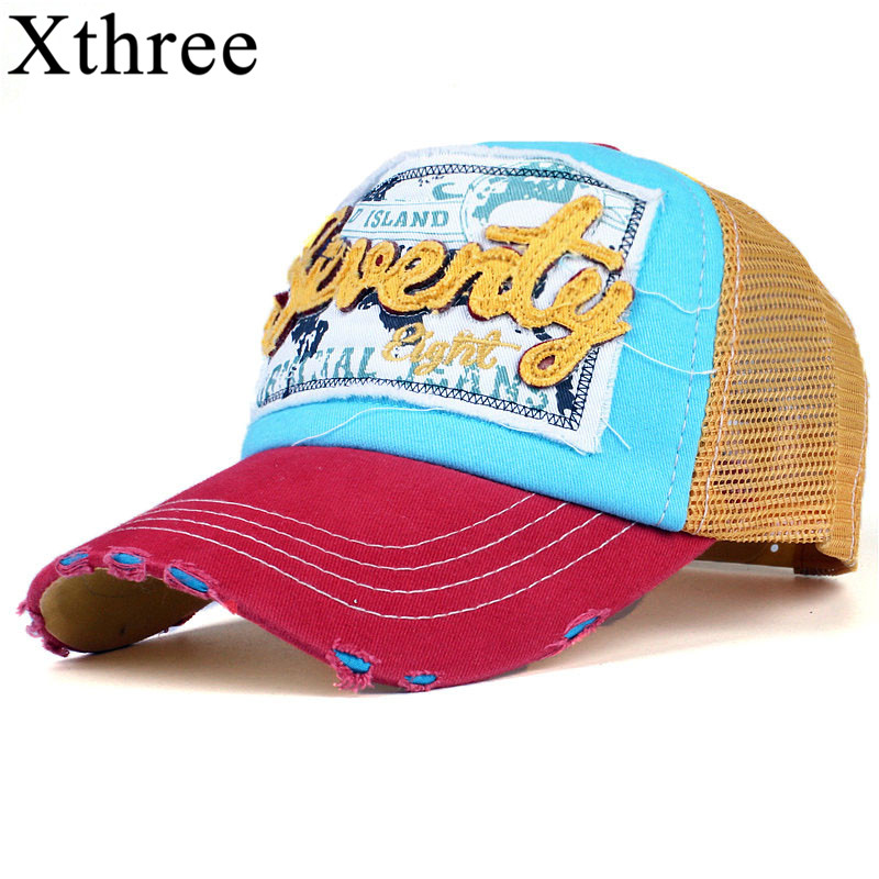 Xthree fashion mesh baseball cap for women men's  summer cap snapback Hat for men bone gorra  casquette fashion hat fashion solid color baseball cap for men and women