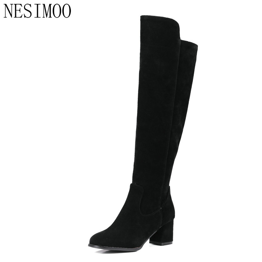 NESIMOO size 34-43 Elegant Scrub 2016 Knee High Boots PU leather Square High Heel Round Toe Women Shoes Boots Shoes Sown Boots