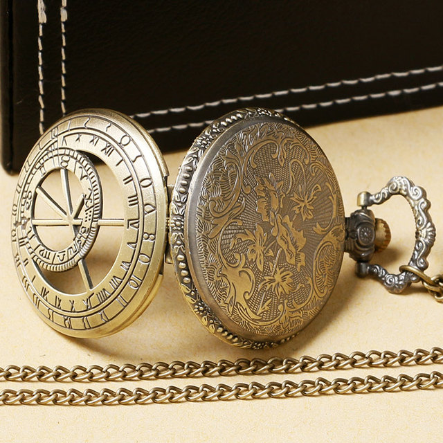 Vintage Copper The Prague Astronomical Clock Pattern Constellation Quartz Pocket Watch Women Men Necklace Pendant Birthday Gift
