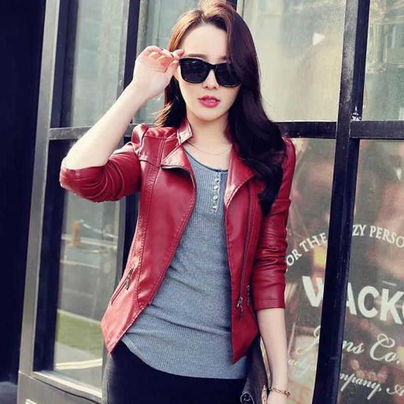 Women New Fashion Spring Motorcycle   Leather   Jacket Blouses 2018 Korean Slim Fall PU Jacket Girls Casual Faux   Leather   Parkas 3XL
