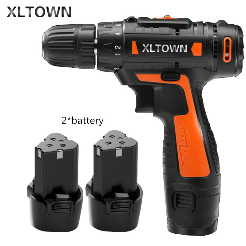 Xltown12v Cordless Mini Electric Drill with 2 battery Multi-energy lithium battery Two-speed  electric screwdriver Electric dril footprint reading library 3000 alternative energy [book with multi rom x1 ]