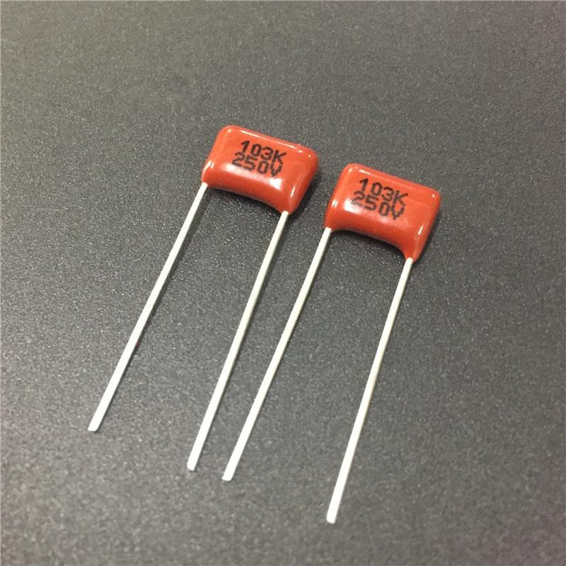 300pcs 250V 103 K 0.01uf 10nf 10000pf P8 CL21 CBB metal film capacitor