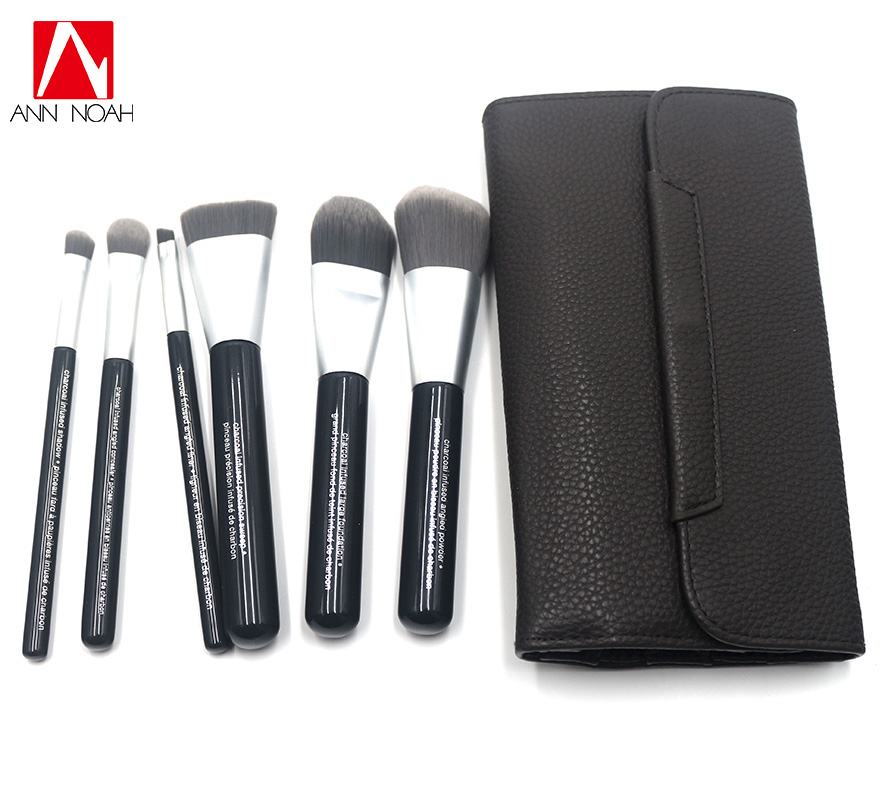 High Quality Deluxe Charcoal Antibacterial Synthetic Fiber 6pcs Makeup Brushes Kits With Faux Leather Pouch