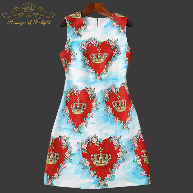 2018 Summer Girl Dress Europe And United States Women's Retro Palace Printing O-neck Loose Slim Heart Print Dress Family Clothes женское платье summer dress 2015cute o women dress