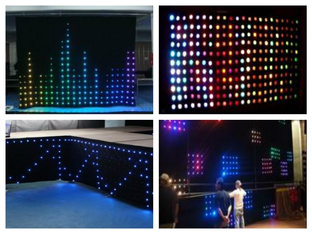RGB 1x2M LED Video Curtain 66pcs SMD High-bright stage Cloth Fireproof Velour + Controller LED Vision Curtain Star Cloth