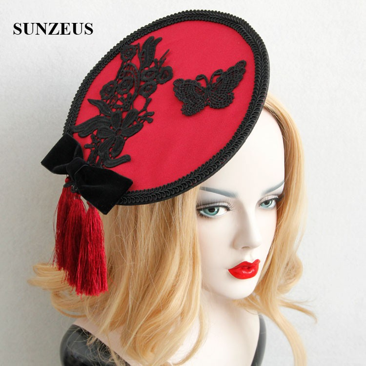 Unique Wine Red Tassel Bridal Hats With Black Lace Butterfly High Quality Party Hat New Headwear FJ-32