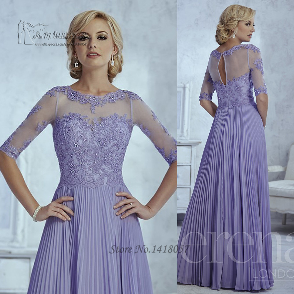 Gorgeous Lavender Plus Size Mother of the Bride Groom Lace Dresses Half Sleeve 2016 Long Evening