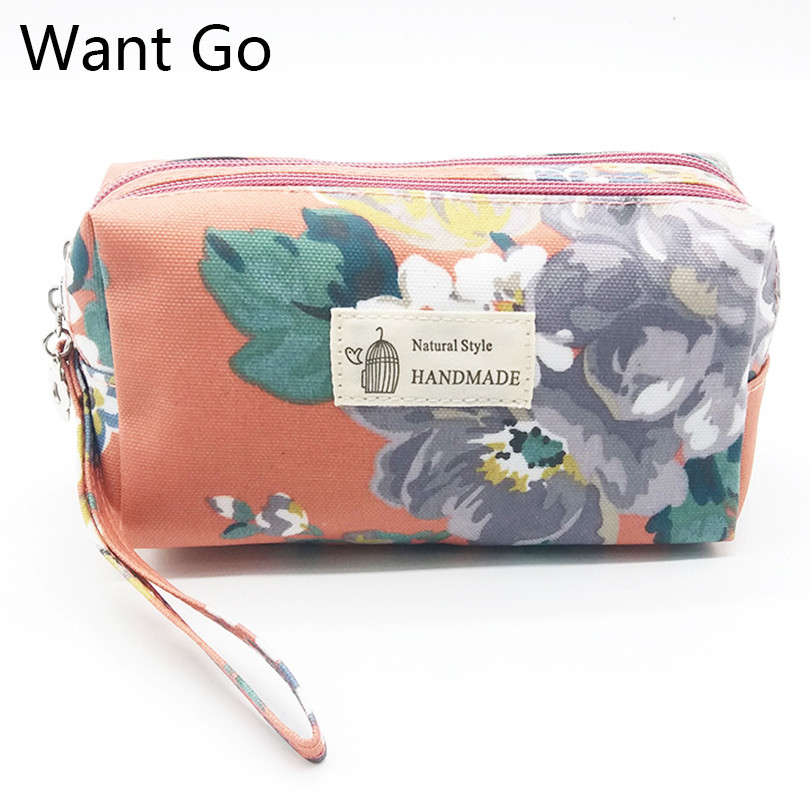 Want Go Vintage Girl Portable Travel Cosmetic Bag Fashion Women Double Layer Daily Use Clutch Pocuh Bag Female Zipper Makeup Bag одноразовые сиденья для унитаза gogirl hw020 go girl urination