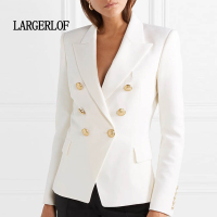 LARGERLOF Blazer Women Autumn Spring Double Breasted Blazer Whit Simple Women Blazers And Jackets BR50015