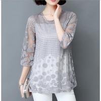 2017 New Summer Women Blouse Large Size Mesh Patchwork Chiffon Blouse Polka Dot Embroidery Women Shirts