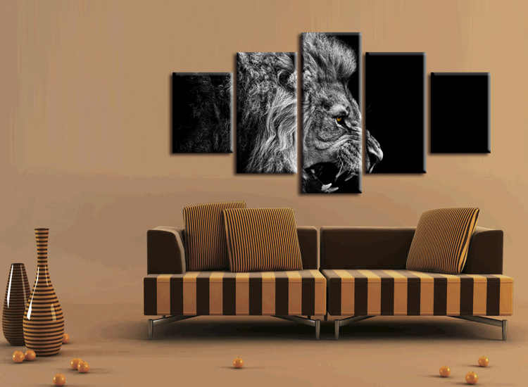 5 pieces / set HD Printed Animal Male Lion Wall Art Painting Canvas Print Room decor print poster Picture Canvas