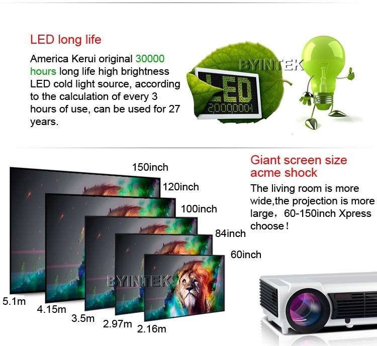BYINTEK BT96 חכם אנדרואיד Wifi קולנוע ביתי HDMI USB 1080P Bluetooth וידאו LCD LED fuLL HD מקרן Proyector Projetor ב. מ. וו