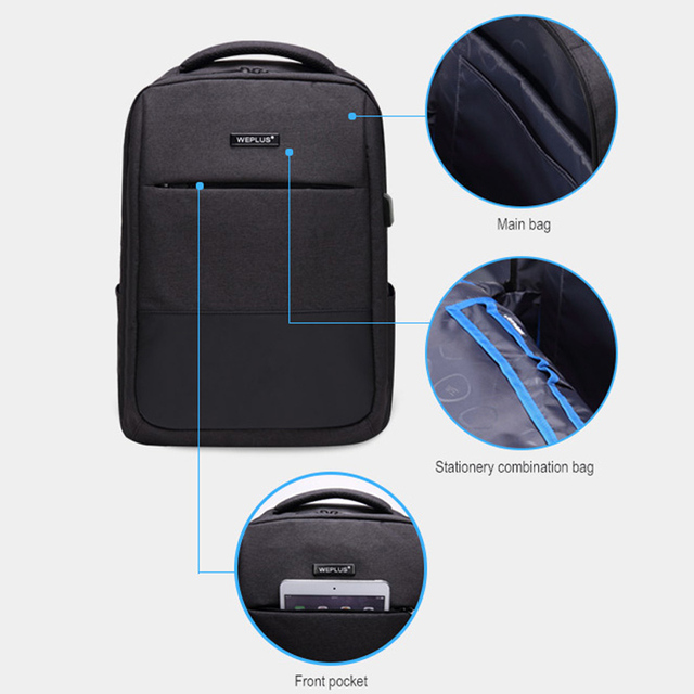 Multifunction computer USB charging 15.6 inch Laptop Backpack men School Bag Large Capacity Casual Style Water Resistant bags 4