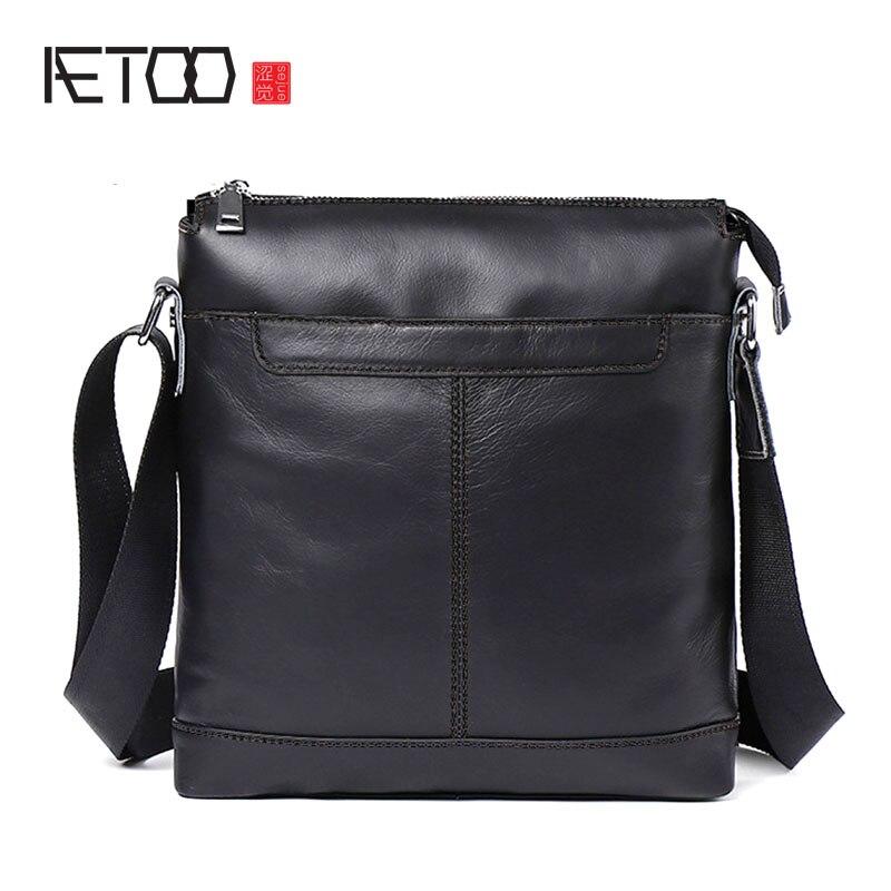 8593e3f1def7 AETOO мужская кожаная сумка Повседневная мужская сумка на плечо на заказ  первый слой кожаная Ретро сумка