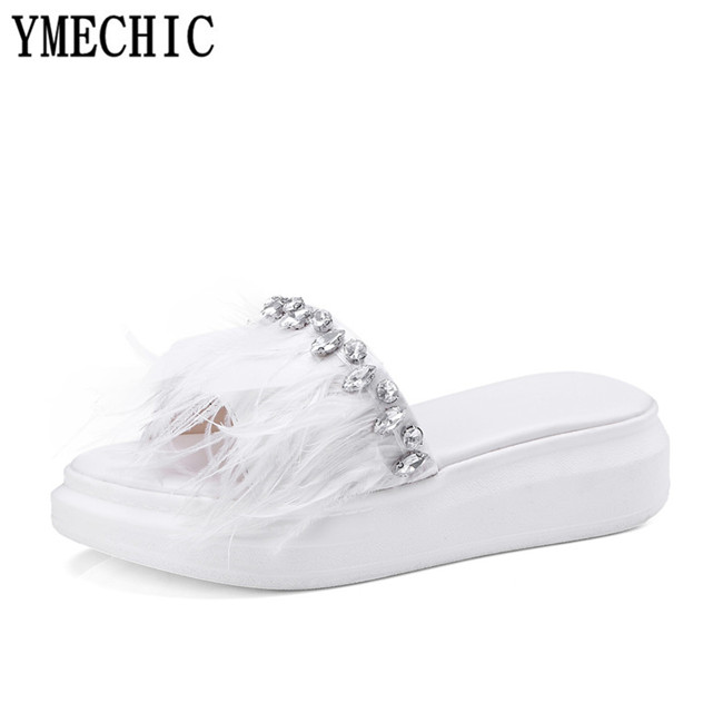 YMECHIC Ladies Feather Rhinestone Platform Summer Party Shoes Wedge Heels  Women Slides Black Pink Slipper Plus Size Sandals 2018-in Slippers from  Shoes on ... ca3d58cf8e1b