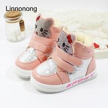 Children Winter Fashion Boots For Girls Plush Hello Kitty Snow Boots Rhinestone Antislip White Pink Kids Shoes Sport Sneakers