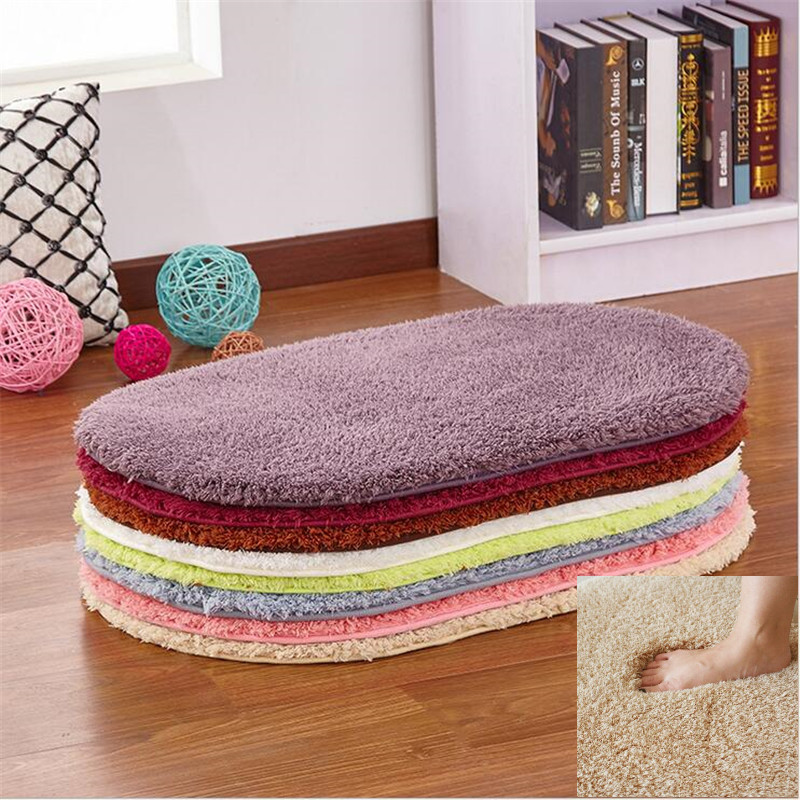 new fashion 9color ovalshaped mats carpet fluffy rugs simple antiskid shaggy area - Fluffy Rugs