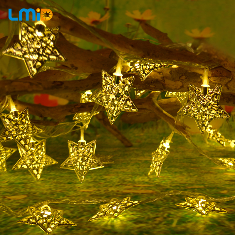 LMID AC220V 5M 30 LEDS Metal String Light Star Christmas Pendant for Xmas Home Party Holiday Decoration Wedding Fairy Lights