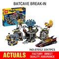 2017 Лепин 07052 Новый 1047 Шт. Подлинная Бэтмен Фильм Серии 70909 Batcave взлома Строительные Блоки Кирпичи Развивающие Игрушки