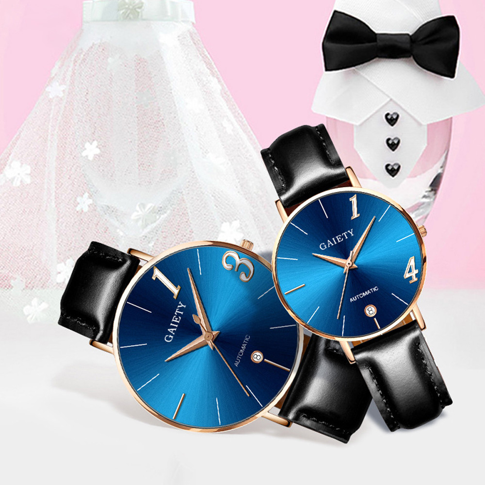 Couple Watch Quartz Men's Ladies Wrist Watches Analog Blue Fashion Simple Leather Strap Valentine Love Birthday Gift F306