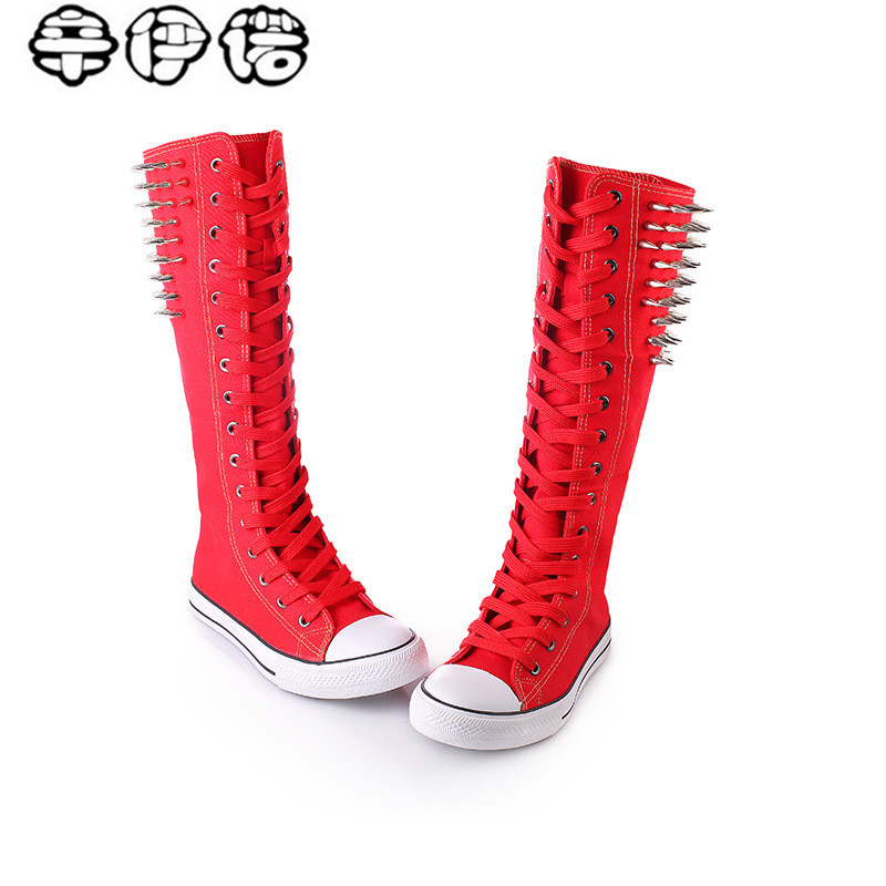 hot sale new fashion women punk rivets canvas knee high boots flats lace up zipper shoes high top woman breathable long boots 43