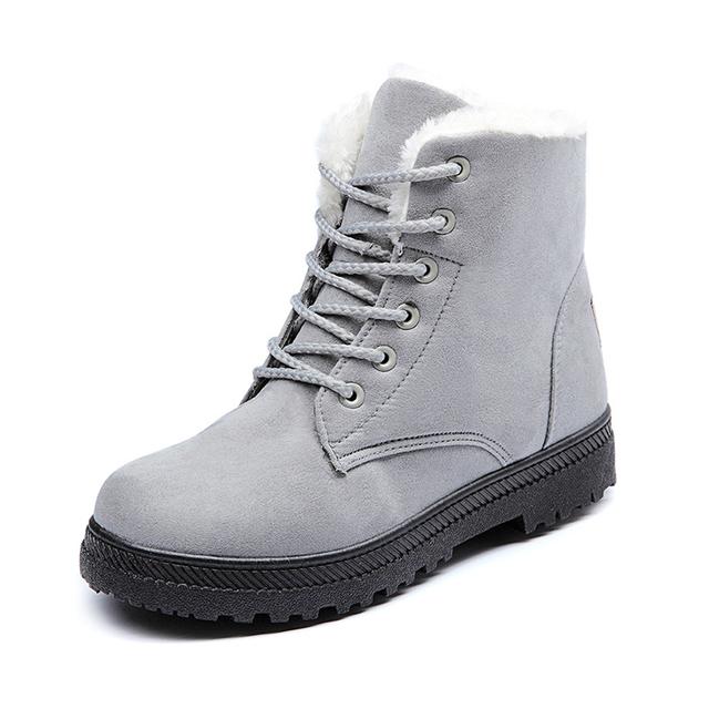 2016 Novas Mulheres Quentes Botas de Neve Botas de Inverno Quente Botas Mujer rendas Até Botas de Pele Do Tornozelo Senhoras Sapatos de Inverno Vermelho Preto High-Top saltos