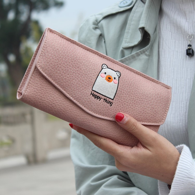 High Quality Long Design Lady Hasp Clutch Wallet Cartoon Embroidery Female Wallets Card Holder Coin Purse Money Bag high quality floral wallet women long design lady hasp clutch wallet genuine leather female card holder wallets coin purse