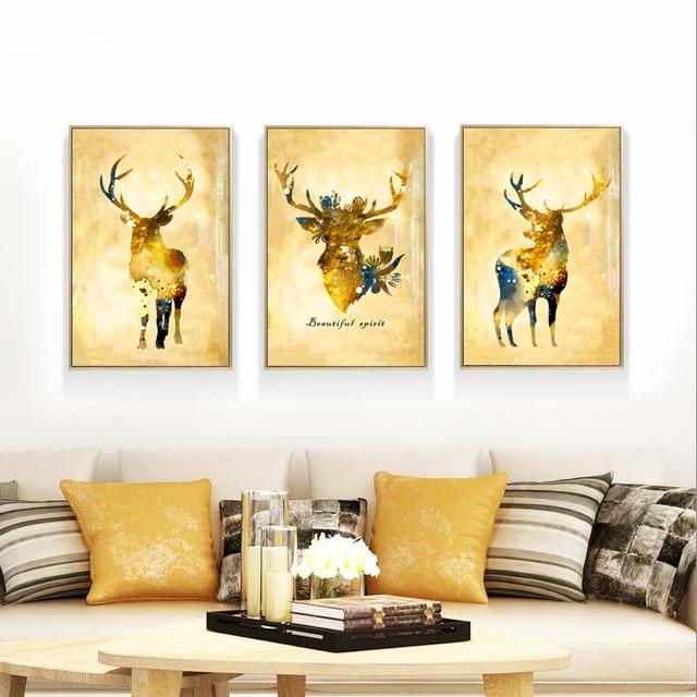 triptychon abstrakte gold hirsch leinwand malerei edle kunstdruck, Design ideen
