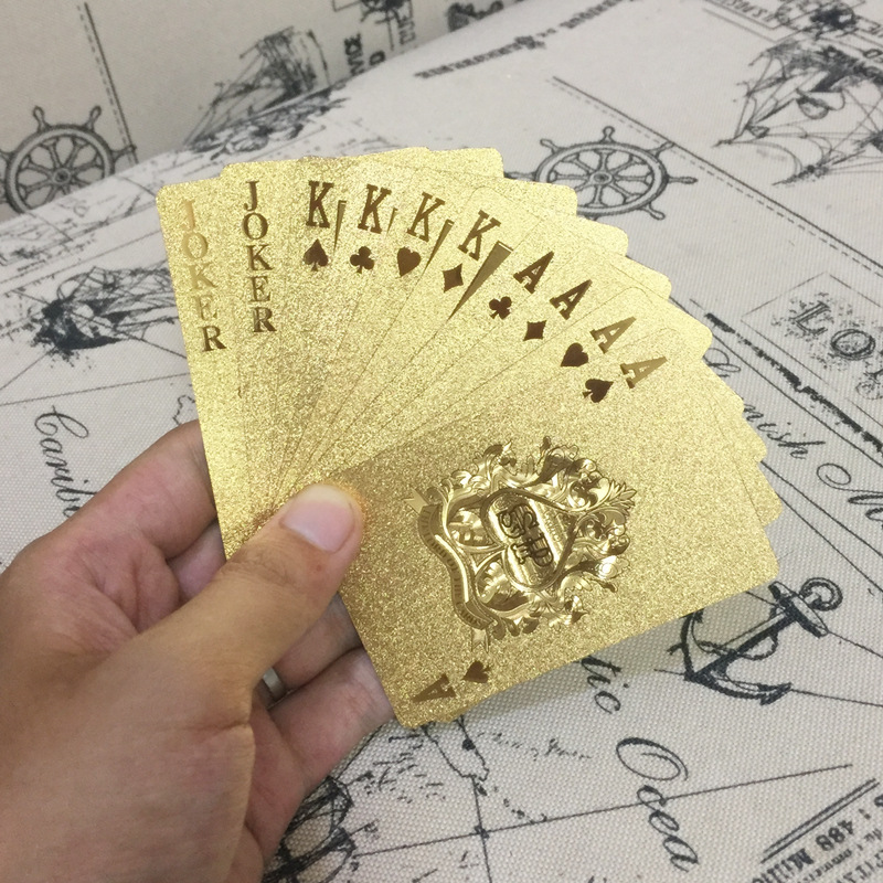 2018 Deck Gold Silver Foil Poker Set Magic Card 24K Gold Plastic Foil Poker Durable Waterproof Cards Gift Golden Playing Cards image