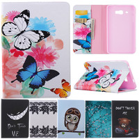 Butterfly Owl Cartoon PU Leather Flip Stand Cover Cases For Samsung Galaxy Tab J 7 0