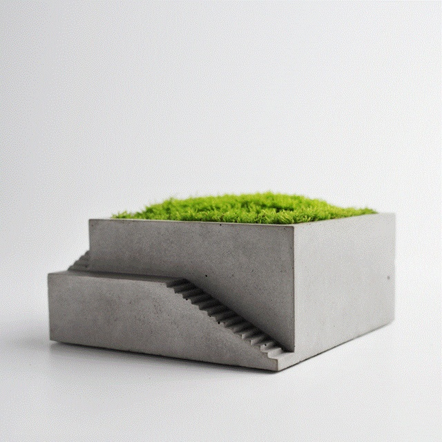 silicone mold Concrete Square with stairs flower desktop moss bonsai cement multi-flower pots home furnishings mould handmade m 3