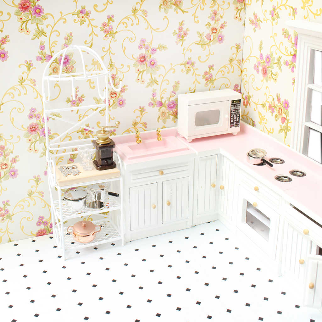 1/12 Scale Doll House White/Black Metal Storage Rack Shelf Dollhouse Decoration Miniature Kitchen Furniture Classic Toys for Kid