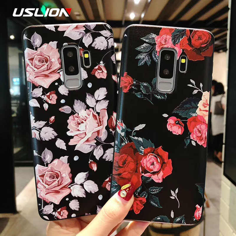 USLION Flower Phone Case For Samsung Galaxy S9 S8 S10 Plus Matte Rose Floral Cover For Samsung A8 A6 2018 Note 8 9 Soft TPU Case