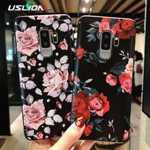 USLION Flower Phone Case For Samsung Galaxy S9 S8 S10 Plus Matte Rose Floral Cover For Samsung A8 A6 2018 Note 8 9 Soft TPU Case(China)