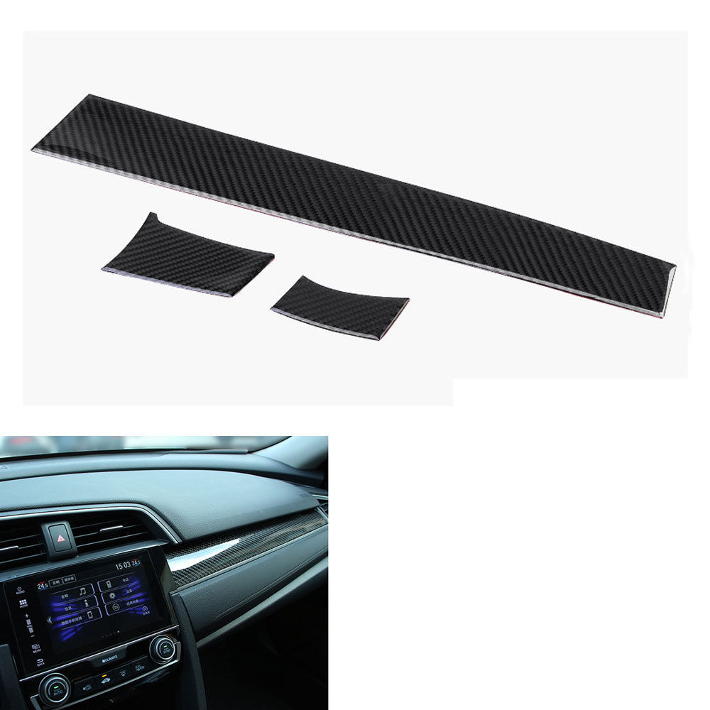 3pc car interior accessories carbon fiber console center dashboard decoration cover protective. Black Bedroom Furniture Sets. Home Design Ideas