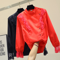New Lotus Leaf Edge Chiffon Shirt Spring Fall 2019 Women's Red Blouse Blusas Office Ladies Basic Tops Stand Collar Blouses Tops