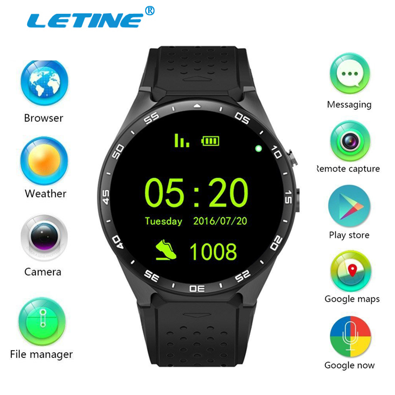 Letine Kingwear KW88 Android Smart Watch MTK6580 Waterproof Wrist Watch Cell Phone Touch Clock with WiFi Camera GPS PK KW18 K88h smart baby watch q60s детские часы с gps голубые