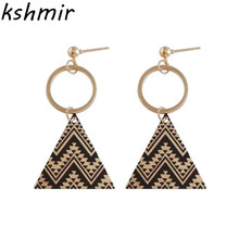 Gold + black earrings eardrop of geometric printed triangle stud Elegant girl fashion and personality