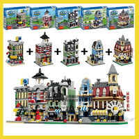 1320 Pcs 5 in 1 Model building kit compatible with lego city mini Creators Cafe Corner Creators town hall Creator Fire Brigade