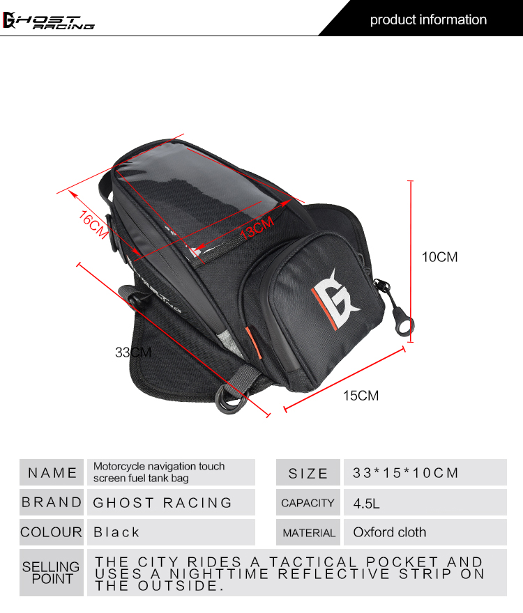 Motorcycle Plastic fuel bag mobile phone navigation pack multi functional small oil tank package magnetic fixed straps in Tank Bags from Automobiles Motorcycles