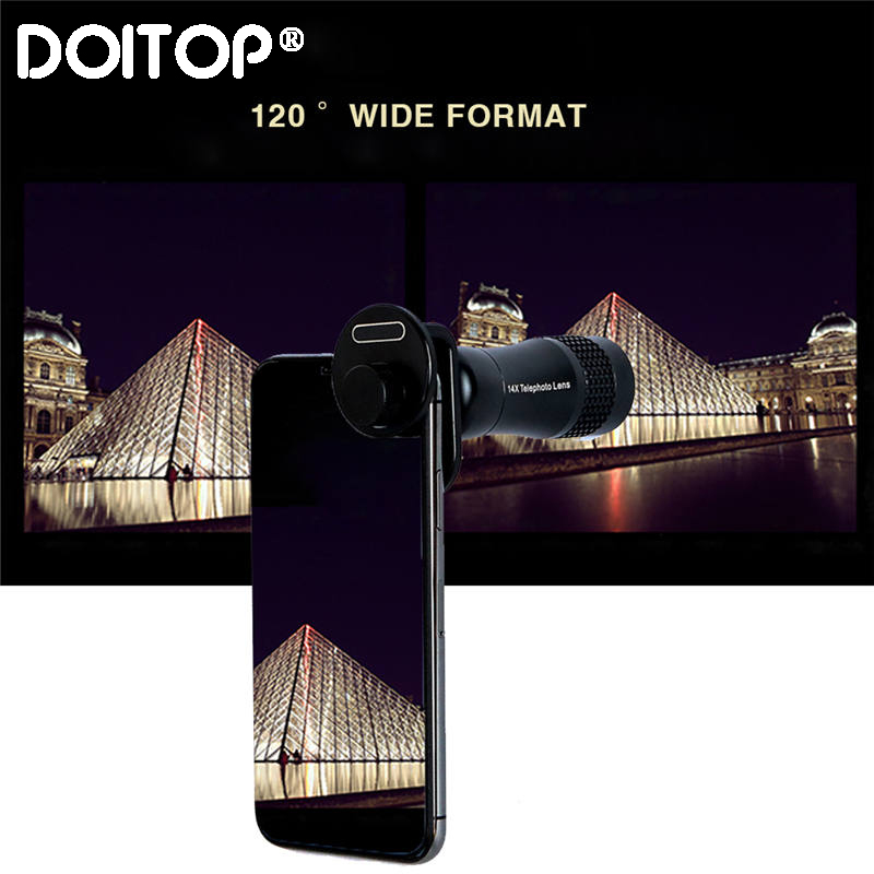 DOITOP 4 in 1 Zoom Mobile Phone Lens Set For iPhone X 8 7 6S 6 Plus Samsung 22x Zoom Lens Wide Angle Macro Fisheye Camera Lenses