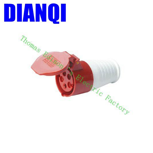 Industrial Coupler Socket Plug 225 CNQD-225 Red 32A 220V~415V 3P+E+N 5pin 60PCS/carton high quality ac 360 415v 16a ie 0140 4p e free hanging industrial plug red white